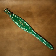 Greyhound or Large Lurcher Collar in Green Leather with Hand Tooled Name