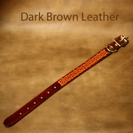 Leather Dog Collar - 11 to 16 inch neck - Tooled Celtic Design (saddle tan and dark brown)