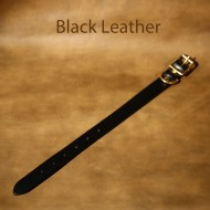 Leather Dog Collar - 13 to 18 inch neck black leather dog collar with solid brass fittings