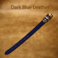 Leather Dog Collar - 9 to 14 inch neck dark blue leather dog collar with solid brass fittings