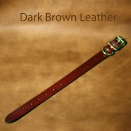 Leather Dog Collar - 13 to 18 inch neck dark brown leather dog collar with solid brass fittings
