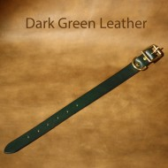 Leather Dog Collar - 9 to 14 inch neck dark green leather dog collar with solid brass fittings