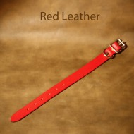 Leather Dog Collar - 9 to 14 inch neck red leather dog collar with solid brass fittings
