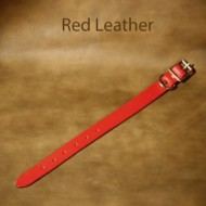 Leather Dog Collar - 11 to 16 inch neck red leather dog collar with solid brass fittings