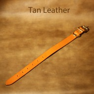 Leather Dog Collar - 9 to 14 inch neck tan leather dog collar with solid brass fittings