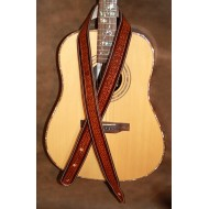"""Guitar Strap - 2"""" 'Phoenix' Style Custom Leather Guitar Strap with Celtic Design (Saddle Tan And Dark Brown)"""