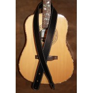 "Guitar Strap - 2"" 'Phoenix' Style Custom Leather Guitar Strap (Plain Black) Can be personalised"