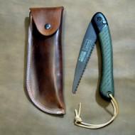 Pouch - Plain Dark Brown Leather Belt Pouch To Fit Bahco Laplander Folding Bushcraft Saw