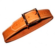"Wide Dog Collar (1.5"") to fit 24 to 28 inch neck in natural leather with a Celtic Design"