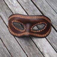 Mask - Venetian Style Leather Mask In Dark Brown Leather