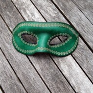 Mask - Venetian Style Leather Mask In Green Leather