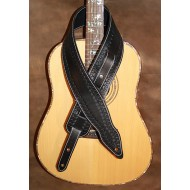 "Guitar strap - 3"" wide adjustable length 'Memphis' style custom leather guitar strap. Hand tooled (Black) Can be personalised"