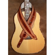 "Guitar strap - 3"" wide adjustable length 'Memphis' style custom leather strap. Hand tooled (Dark Brown). Can be personalised"