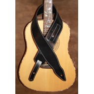 "Guitar strap - 3"" wide adjustable length 'Memphis' style custom leather guitar strap (Plain Black) Can be personalised"