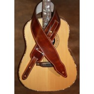 "Guitar strap - 3"" wide adjustable length 'Memphis' style custom leather strap (plain dark brown) Can be personalised"