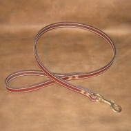 Dog Lead in Brown Leather (Double Length) with solid brass joining ring and solid brass trigger hook to suit most LARGE dogs