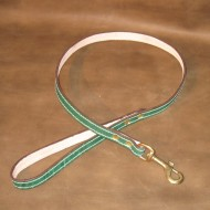 Dog Lead in Green Leather with Solid Brass Trigger Hook to suit most LARGE dogs