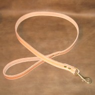 Dog Lead in Natural Oiled Undyed Leather with Solid Brass Trigger Hook to suit SMALL dogs