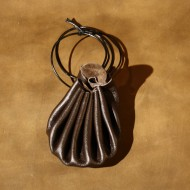 "Pouch - Drawstring Medieval Style Pouch (single string) - 8"" Brown Leather"