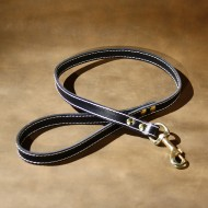 Dog Lead in Black Leather with Solid Brass Trigger Hook to suit most LARGE dogs