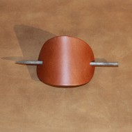 Hair Accessories - Plain Brown Leather Hair Barrette or Hair Slide
