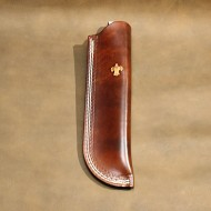 Knife Sheath 1 - Brown Leather (Wet Form) Knife Sheath With Scouting Motif Fits Mora Or Similar Size Bushcraft Knife