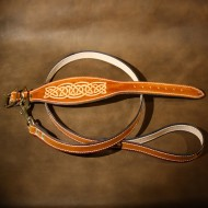 Greyhound or Large Lurcher Collar and Matching Lead Hand Made in Saddle Tan Leather with a Celtic Design