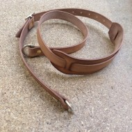 "Strap - Creel Strap 60"" x 1"" - Natural Oiled Leather with shoulder pad, brass dees and buckle"