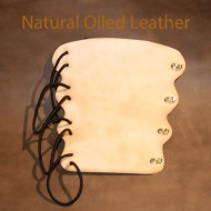 Archery Bracer - Elastic Style fits all sizes - Natural Oiled Leather
