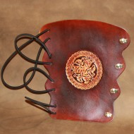 Archery Bracer - Elastic Style fits all sizes - Tooled Celtic Dogs