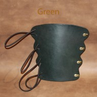 Archery Bracer - Elastic Style fits all sizes - Green Leather