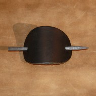 Hair Accessories - Plain Black Leather Hair Barrette or Hair Slide