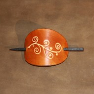 Hair Accessories - Tooled Classical Design Saddle Tan Leather Hair Barrette or Hair Slide