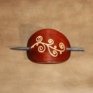 Hair Accessories - Tooled Classical Design Dark Brown Leather Hair Barrette or Hair Slide