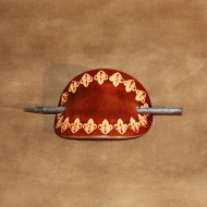 Hair Accessories - Tooled Fleur de Lys Design Brown Leather Hair Barrette or Hair Slide