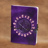 Journal - A5 Leather journal (Book of Shadows) with Pentagram design (and decorative tooled leather bezel)
