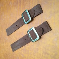 Kilt Strap - NEW Pair of Sew-On Kilt or Cloak Straps In Mid Brown 'Deer Grain' Leather. Solid Brass (gold coloured) Buckle