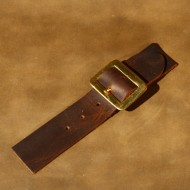 Kilt Strap - Sew-On Kilt or Cloak Strap In Brown Leather. Nickel Plated Brass (silver coloured) Buckle