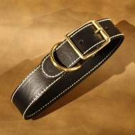 "Wide Dog Collar (1.5"")  to fit 16 to 20 inch neck in plain black leather"