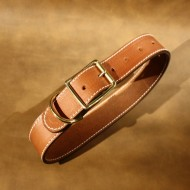 "Wide Dog Collar (1.5"")  to fit 16 to 20 inch neck in plain brown leather"