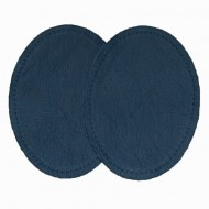 Leather Elbow Patches - (Size Large) Navy Blue (three sizes available)
