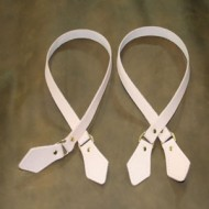 Straps - Sew-On Bag Strap Handles (Pair) Undyed Leather (Pre-Punched Stitch Holes And Solid Brass Dees)