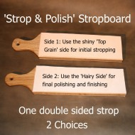 Leather Strop & Polish Stropboard (4 inches wide - one side smooth the other side rough) for sharpening woodwork & leatherworking tools, bushcraft knives and straight razors