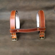 "Straps - 1"" Wide Classic Sports Car Rack Luggage or Basket Straps (pair with spacer strap) 55"" Long in Saddle Tan Leather"