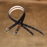 "Strap - Trouser Leg (ratting) Strap in Dark Brown Leather - 24"" x 1/2"""