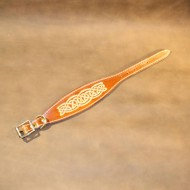Whippet or Small Lurcher Collar in Saddle Tan Leather with Embossed Celtic Design