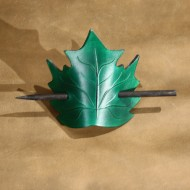 Hair Accessories - Leaf Shaped Green Leather Hair Barrette or Hair Slide