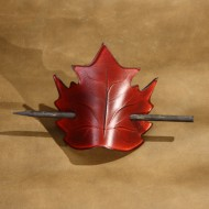 Hair Accessories - Leaf Shaped Red Leather Hair Barrette or Hair Slide