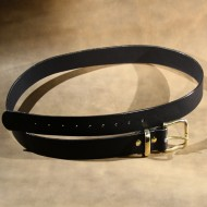 """Belt - 1.5"""" wide, plain black leather finished with solid polished brass buckle"""
