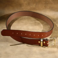 "Belt - 1.5"" wide, plain brown leather finished with solid brass buckle"